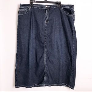 Baccini Denim Skirt Size 22W Dark Wash Denim Skirt